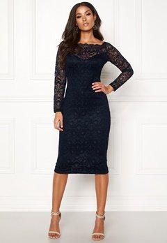 AX Paris Lace Off Shoulder Dress Navy Bubbleroom.dk