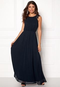 AX Paris Lace Trim Chiffon Dress Navy Bubbleroom.dk