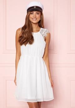AX Paris Lace Trim Skater Dress White/Black Glitter Bubbleroom.dk