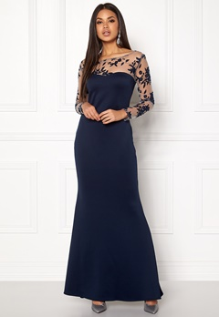 Goddiva Mesh Fishtail Maxi Dress Navy Bubbleroom.dk
