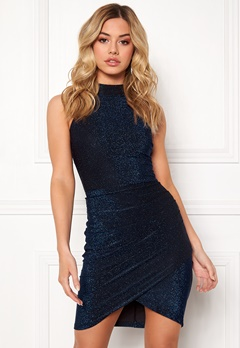 AX Paris Metallic High Neck Dress Blue Bubbleroom.dk