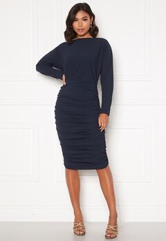 AX Paris Off Shoulder Midi Dress Navy Bubbleroom.dk