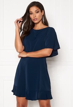 AX Paris Open Back Skater Dress Navy Bubbleroom.dk