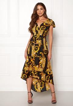 AX Paris Printed Cap Maxi Dress Black/gold Bubbleroom.dk