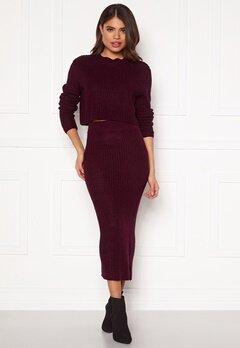 AX Paris Rib Knit Midaxi Skirt Wine Bubbleroom.dk