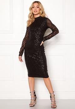 AX Paris Sleeve Sequin Midi Dress Black Bubbleroom.dk
