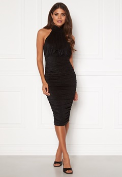 AX Paris Sparkle High Neck Rouch Midi Dress Black Bubbleroom.dk