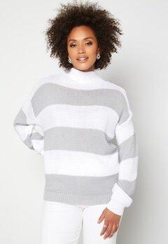 AX Paris Stripe Knitted Jumper Grey Bubbleroom.dk