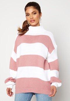 AX Paris Stripe Knitted Jumper Pink bubbleroom.dk