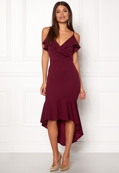 09e1b88b AX Paris Wrap Fishtail Midi Dress Plum Bubbleroom.dk