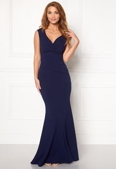 Goddiva Bardot Pleat Maxi Dress Royal Blue Bubbleroom.dk
