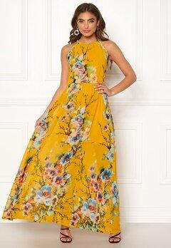 Blue Vanilla Floral Keyhole Maxi Dress Orange Bubbleroom.dk
