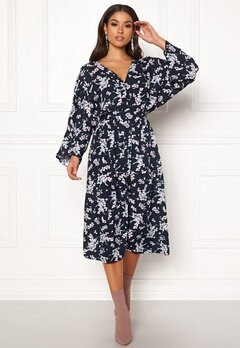 Blue Vanilla Floral Kimono Midi Dress Navy Bubbleroom.dk