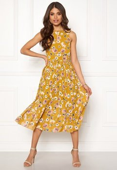 Blue Vanilla Floral Pleated Midi Dress Mustard Bubbleroom.dk