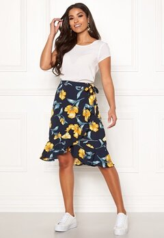 Blue Vanilla Floral Ruffle Wrap Skirt Navy Bubbleroom.dk