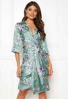 Blue Vanilla Floral Twist Midi Dress Mint Bubbleroom.dk