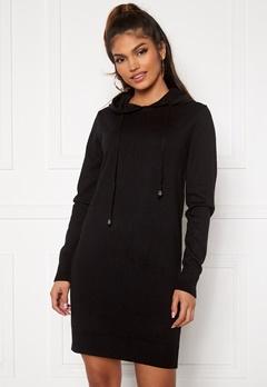 Blue Vanilla Knitted Jumper Dress With Hood Black Bubbleroom.dk