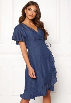 Blue Vanilla Wrap Frill Denim Dress Dark Denim Bubbleroom.dk