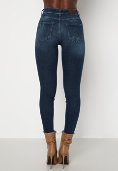 ONLY Blush Life Mid Ank Raw Jeans Dark Blue Denim Bubbleroom.dk