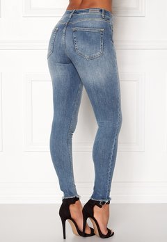 ONLY Blush Mid Raw Jeans Light Blue Denim Bubbleroom.dk