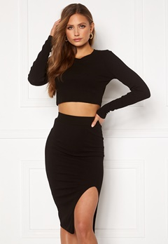 Bohemian Lounge Rib Crop Top Skirt Set Black Bubbleroom.dk