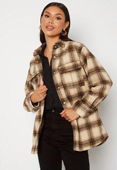 BUBBLEROOM Alice Check Shirt Jacket Beige / Brown / Checked bubbleroom.dk