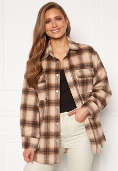 BUBBLEROOM Alice Check Shirt Jacket Beige / Brown / Checked Bubbleroom.dk