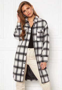BUBBLEROOM Alice Long Check Shirt Jacket Black / White / Checked Bubbleroom.dk