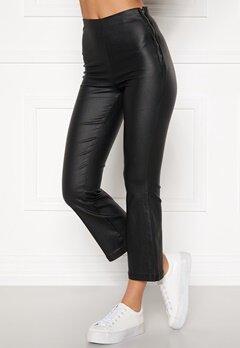 BUBBLEROOM Alicia coated kickflare trousers Black Bubbleroom.dk