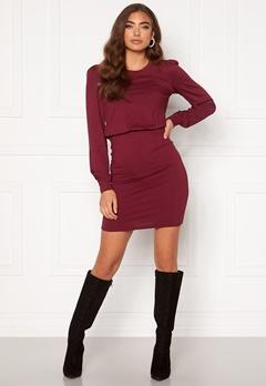 BUBBLEROOM Besa long sleeve short dress  Wine-red Bubbleroom.dk