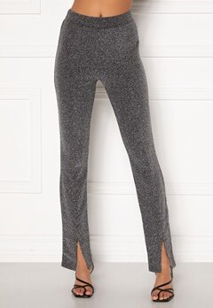 BUBBLEROOM Bonita sparkling slit leggings Black / Silver Bubbleroom.dk