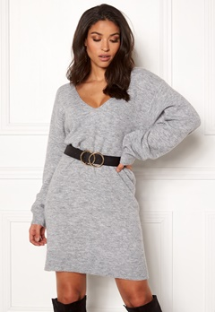 BUBBLEROOM Brooke knitted dress Grey melange Bubbleroom.dk