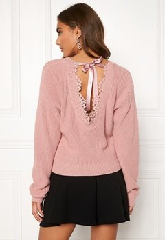 BUBBLEROOM Callie lace neck knitted sweater Dusty pink Bubbleroom.dk