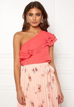 BUBBLEROOM Carolina Gynning Flounce blouse Peach Bubbleroom.dk