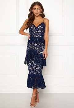 BUBBLEROOM Carolina Gynning flouncy lace dress Dark blue Bubbleroom.dk