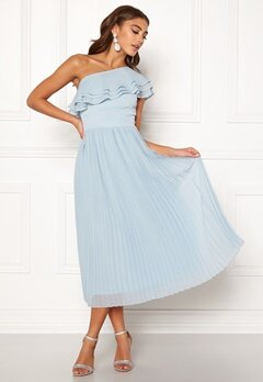 BUBBLEROOM Carolina Gynning Frill one shoulder dress Light blue Bubbleroom.dk