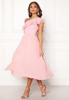 BUBBLEROOM Carolina Gynning Frill one shoulder dress Light pink Bubbleroom.dk
