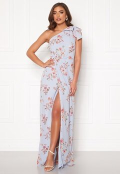BUBBLEROOM Cyrene one shoulder chiffon gown Light blue / Floral Bubbleroom.dk