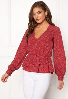 BUBBLEROOM Denice blouse Red / White / Dotted Bubbleroom.dk
