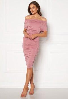 BUBBLEROOM Eleni waterfall short sleeve dress Pink Bubbleroom.dk