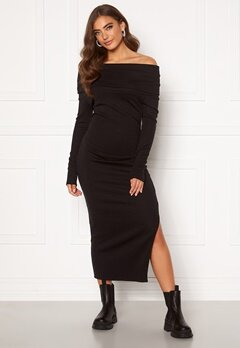 BUBBLEROOM Ellen knitted off shoulder dress Black Bubbleroom.dk