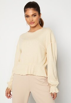 BUBBLEROOM Elleny ribbed flounce sweater Cream Bubbleroom.dk