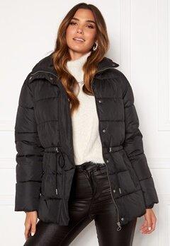 BUBBLEROOM Ellinora tie waist puffer jacket Black Bubbleroom.dk