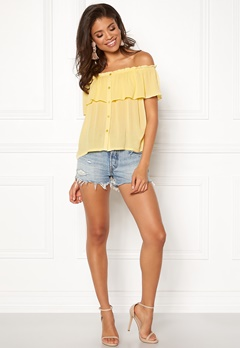 BUBBLEROOM Evelia off shoulder top Light yellow Bubbleroom.dk