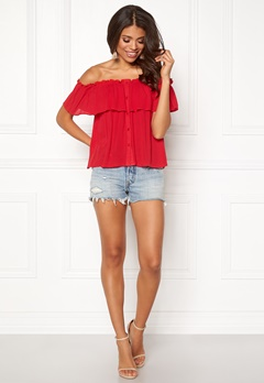 BUBBLEROOM Evelia off shoulder top Red Bubbleroom.dk