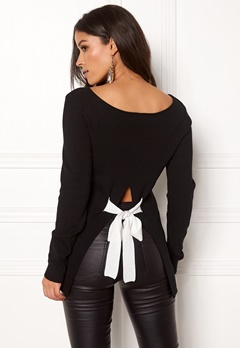 BUBBLEROOM Faye bow back knitted top Black Bubbleroom.dk