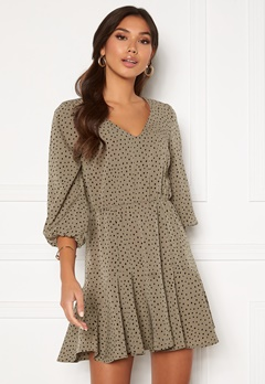 BUBBLEROOM Fayenne dress Dusty green / Black / Dotted Bubbleroom.dk