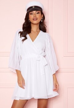 BUBBLEROOM Fayme pleated sleeve dress White Bubbleroom.dk