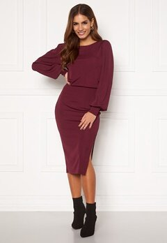 BUBBLEROOM Gry balloon sleeve dress Wine-red Bubbleroom.dk