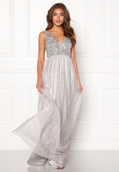 BUBBLEROOM Ivory embellished prom dress Light grey Bubbleroom.dk